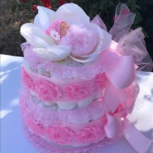 Girl Diaper Cake.Baby Shower Gift